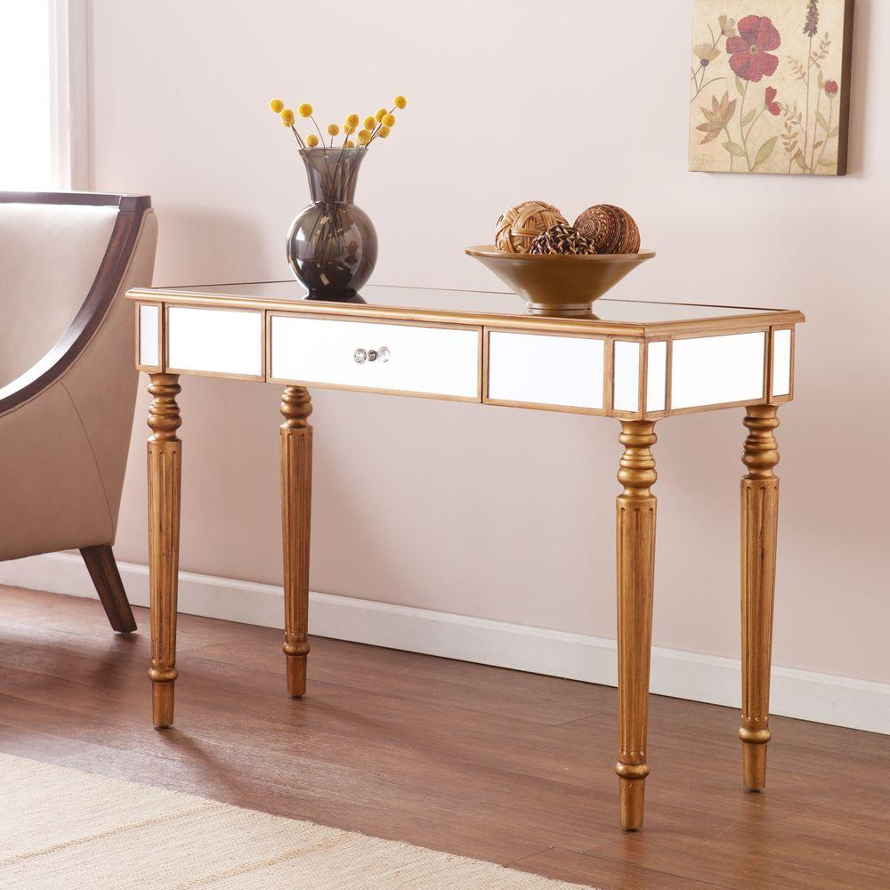southern enterprises fred champagne gold mirrored console table with finish and crystal style knob tables accent unique entryway tablecloth coffee set narrow black end danish mid
