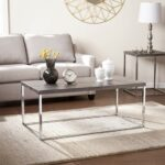 southern enterprises glynn coffee cocktail table sun round metal accent bleached gray with chrome finish kitchen dining home goods side jofran charging station unfinished wood 150x150