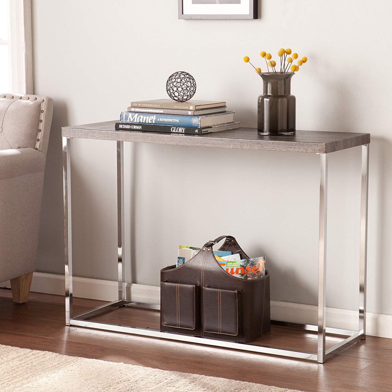 southern enterprises glynn sofa console table sun round metal accent bleached gray with chrome finish kitchen dining black battery operated lights for decorations pottery barn end