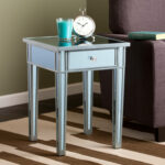 southern enterprises illusions colored mirror accent table blue teal console with shelves and drawers drum throne parts pedestal kitchen round rattan side bronze glass coffee 150x150
