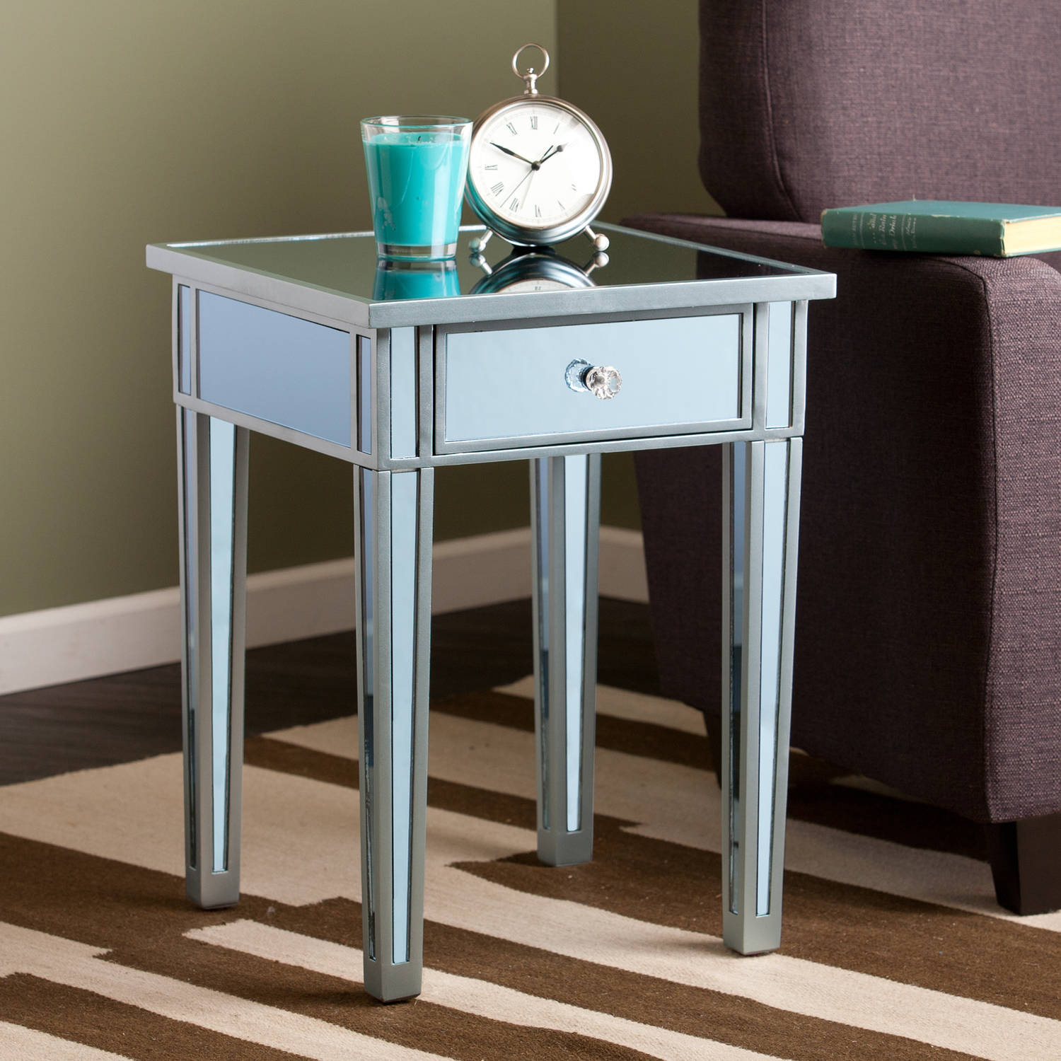 southern enterprises illusions colored mirror accent table blue teal console with shelves and drawers drum throne parts pedestal kitchen round rattan side bronze glass coffee
