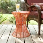 southern enterprises indoor outdoor round metal accent table inch orange rustic furniture build side red asian lamp faux marble nautical porch lights cream linen tablecloth 150x150