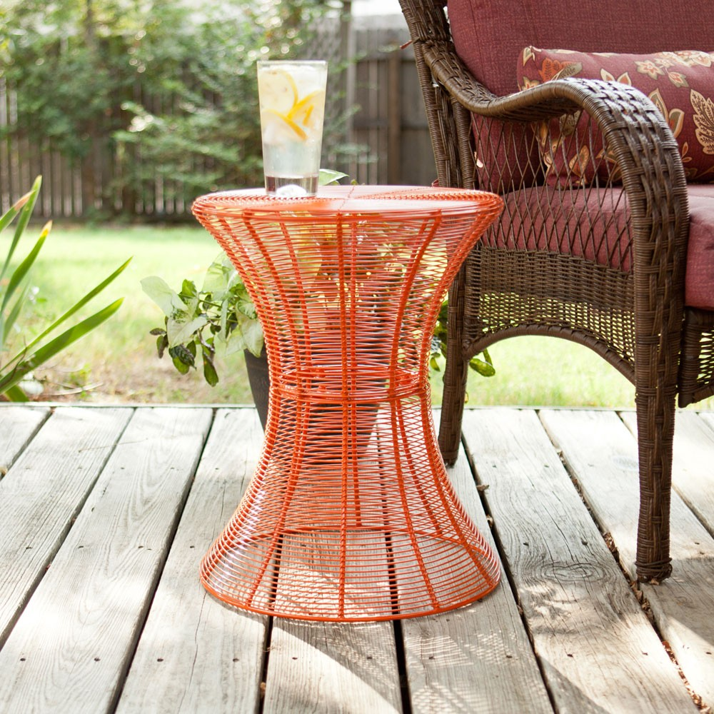 southern enterprises indoor outdoor round metal accent table inch orange rustic furniture build side red asian lamp faux marble nautical porch lights cream linen tablecloth