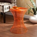southern enterprises indoor outdoor round metal accent table inch orange square card tablecloth patio sofa cover rustic furniture long thin kitchen for mosaic outside copper home 150x150