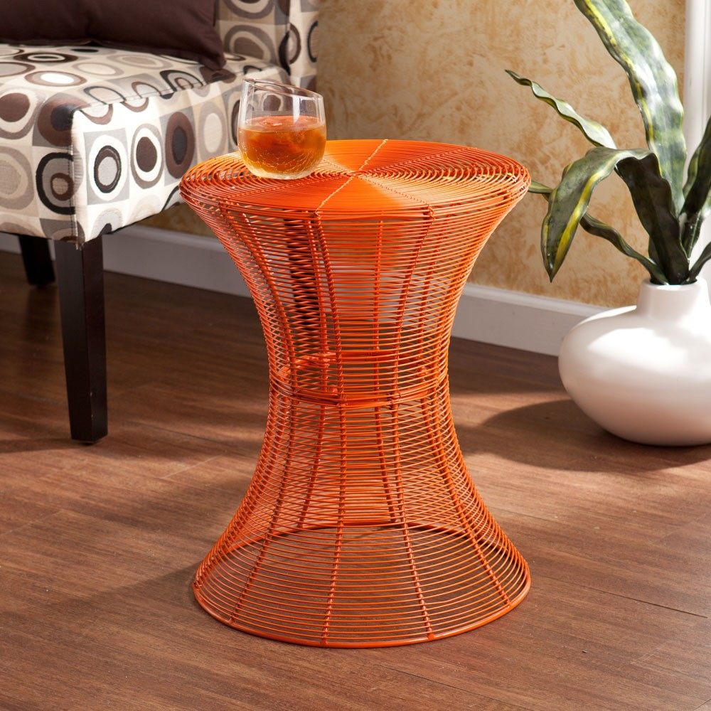 southern enterprises indoor outdoor round metal accent table red inch orange oriental end tables antique wood coffee chair set sofa legs patio furniture clearance triangle with