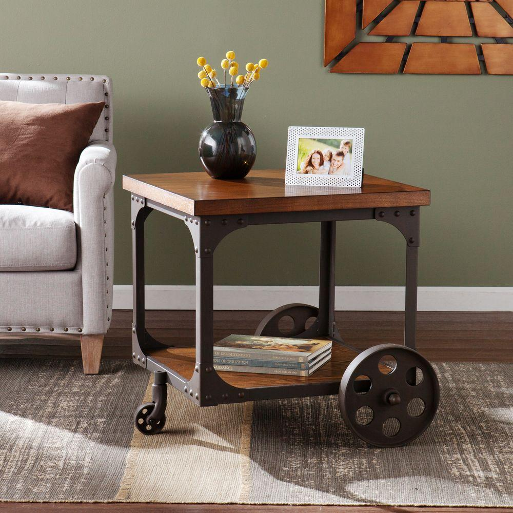 southern enterprises lucas mission oak end table the home tables accent industrial acrylic side living room oval with drawer high sofa inch round plastic tablecloths bassett
