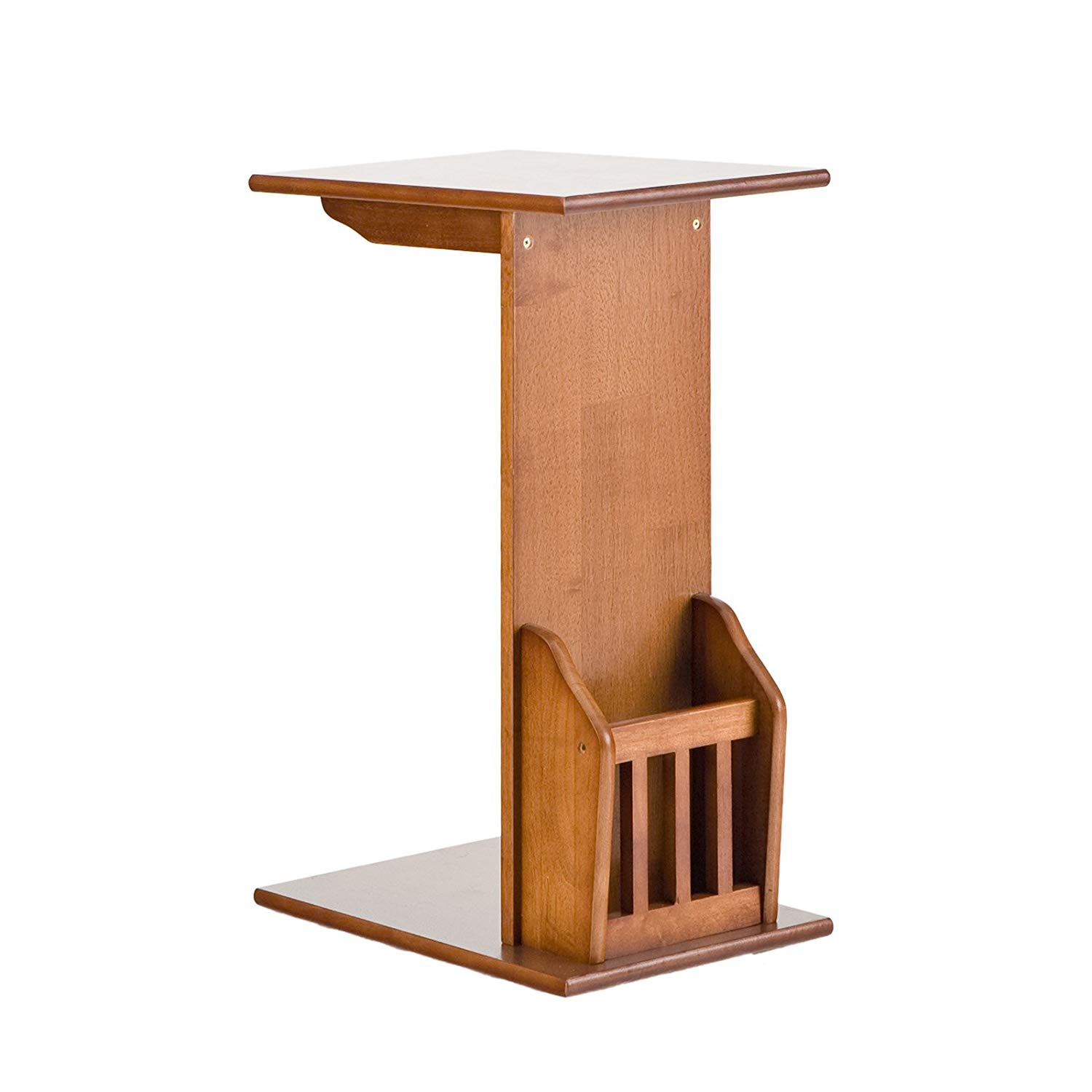 southern enterprises magazine snack table mission oak wood block accent finish kitchen dining small round wooden side bar towels pottery barn room chair covers wesley hall