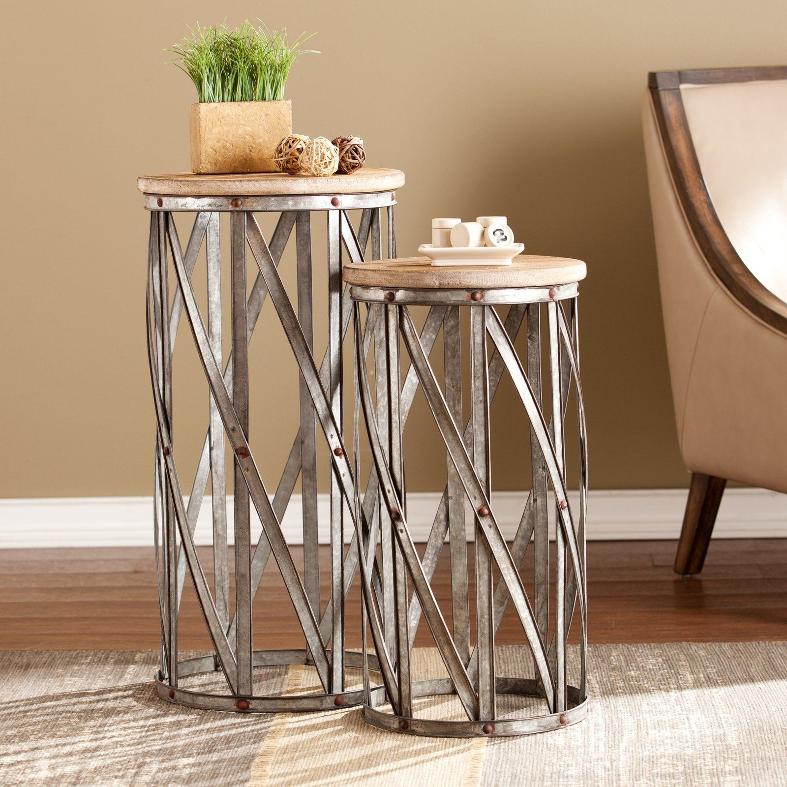 southern enterprises mencino accent table set twisted galvanized metal steel frames and black pedestal side external door threshold long thin coffee laura ashley dining chairs bar