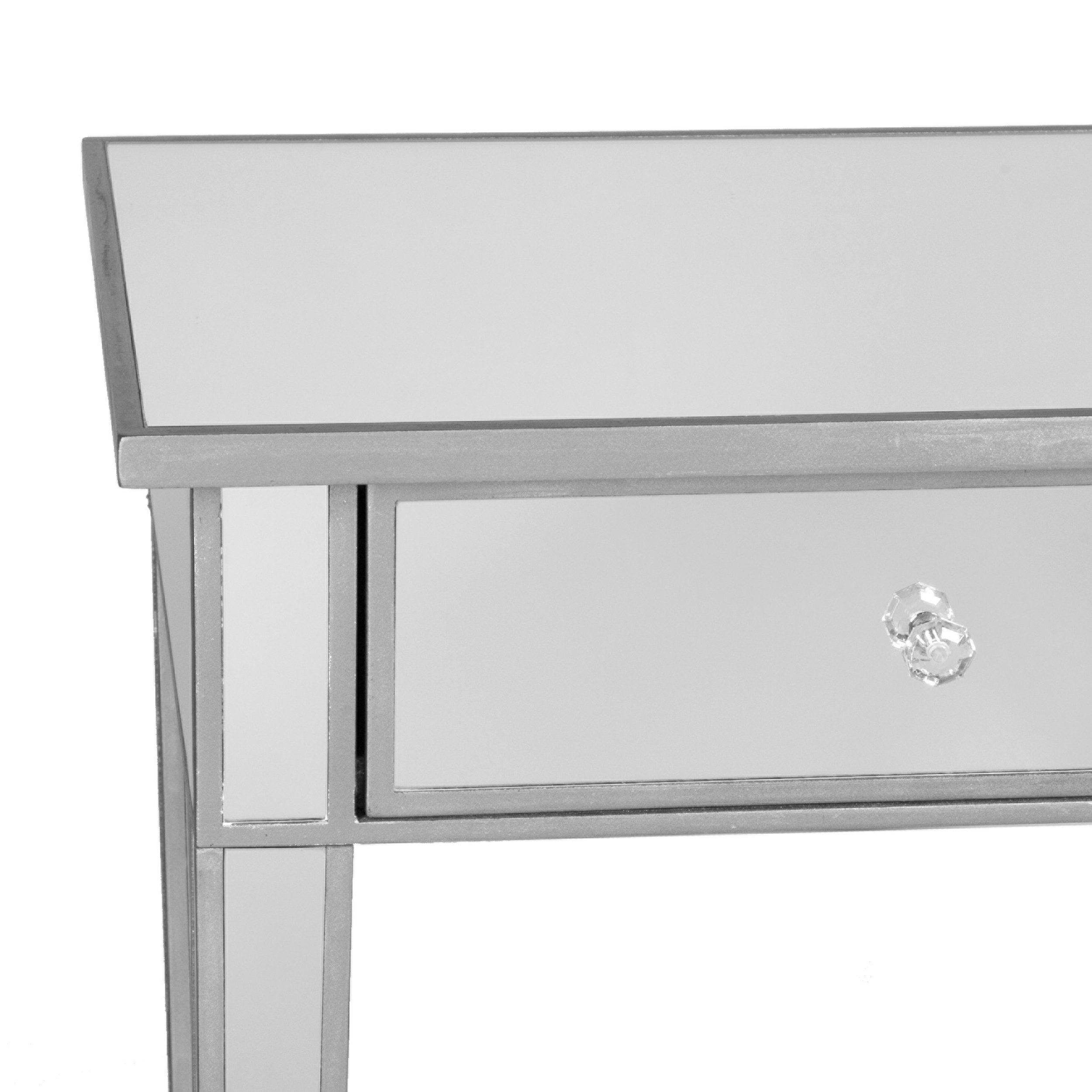 southern enterprises mirage mirrored drawer media console table accent matte silver finish with faux crystal knobs drink bunnings garden furniture uma outdoor distressed blue side