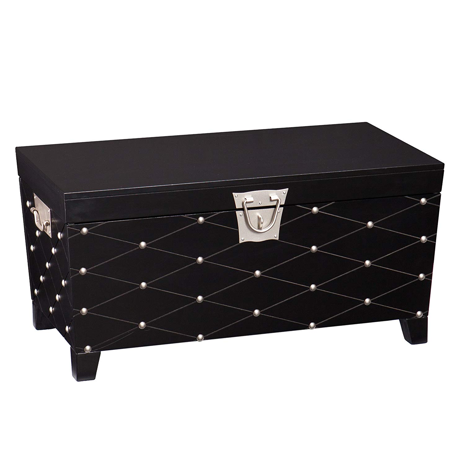 southern enterprises nailhead cocktail table storage diamond mirrored accent trunk black and satin silver finish kitchen dining ikea bedroom cupboards round end tables hollywood