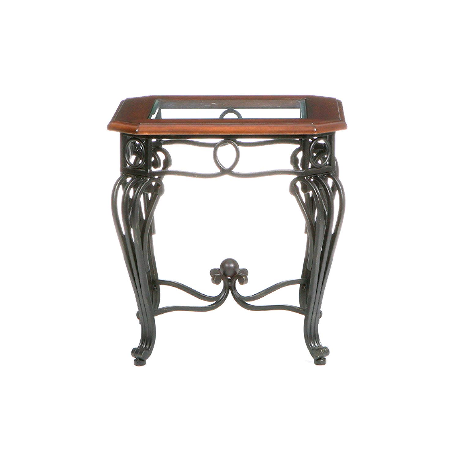 southern enterprises prentice side end table dark room essentials mixed material accent cherry with black finish kitchen dining teak rocking chairs square for door console cabinet