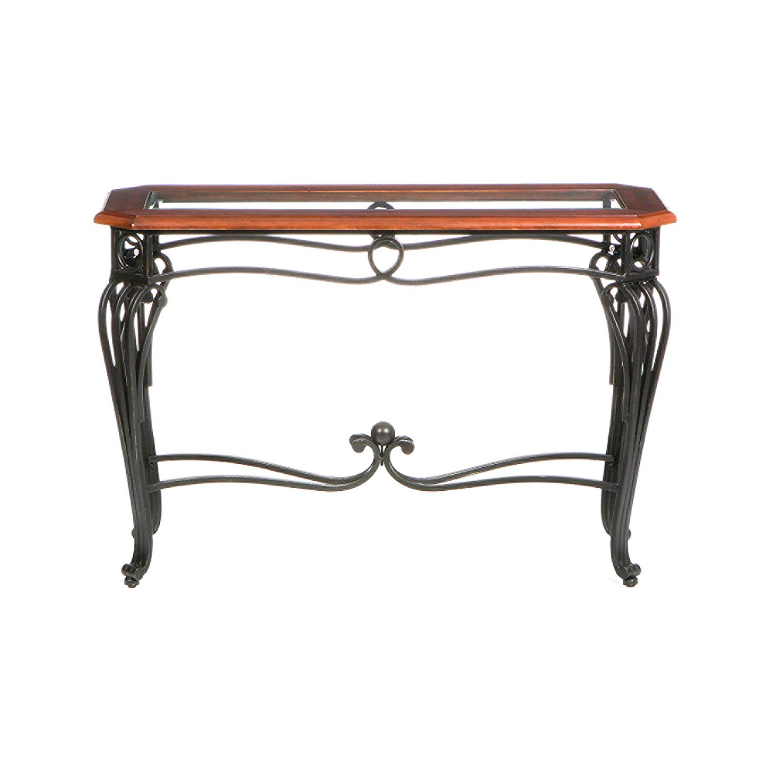 southern enterprises prentice sofa console table dark room essentials mixed material accent cherry with black finish kitchen dining teak rocking chairs door threshold patio end