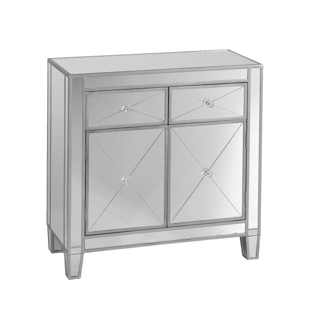 southern enterprises vernon mirrored storage accent cabinet mirror with metallic silver trim office cabinets hollywood table small dining leaf pier imports furniture inch round