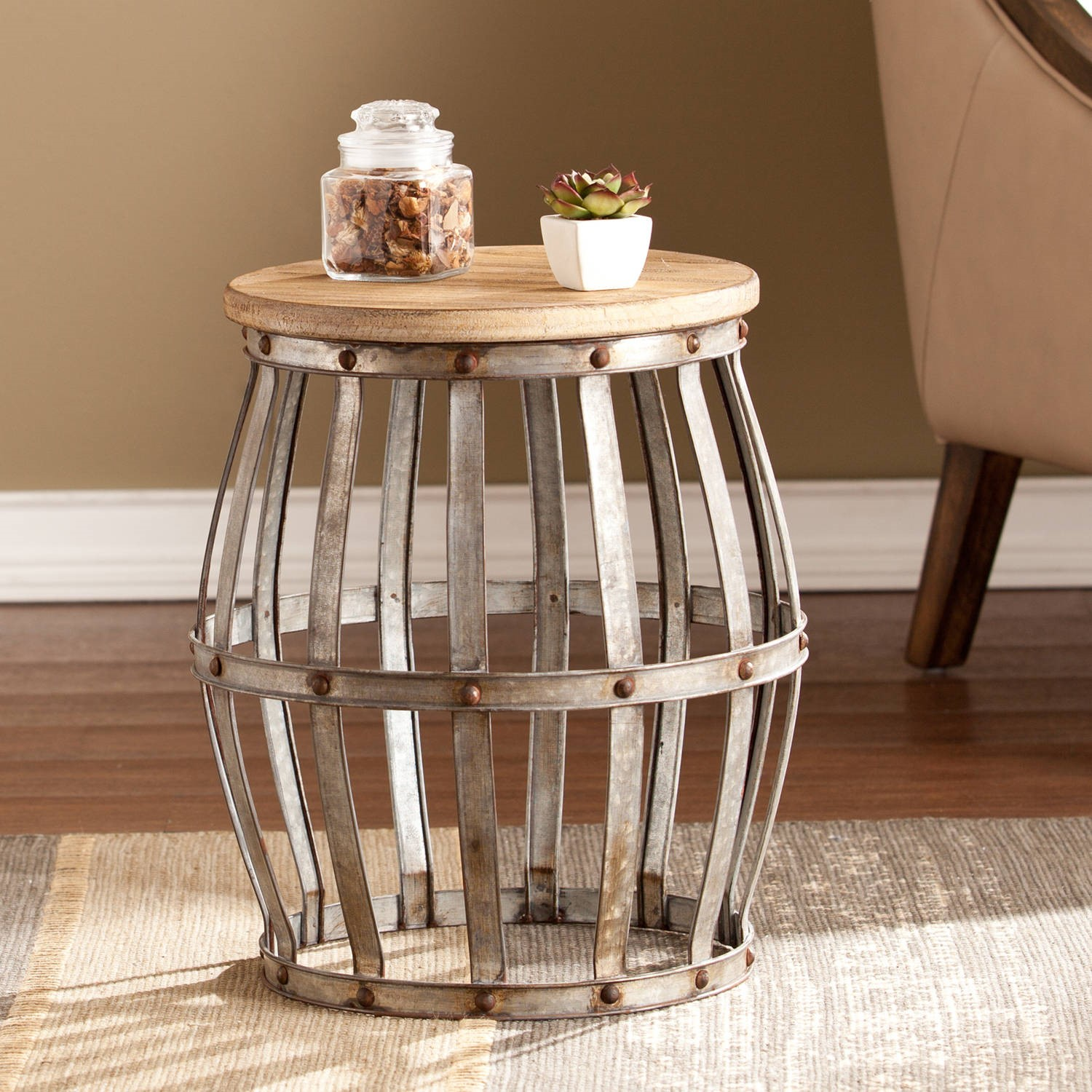 southern enterprises wine barrel accent table antique adjustable height cork catcher silver centerpieces for dining wooden patio set ikea cube storage unit foot long sofa