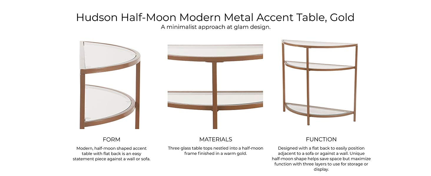 spatial order half moon modern metal accent table gold white hudson showing form materials and function square end with drawer telephone seat rechargeable battery lamp antique