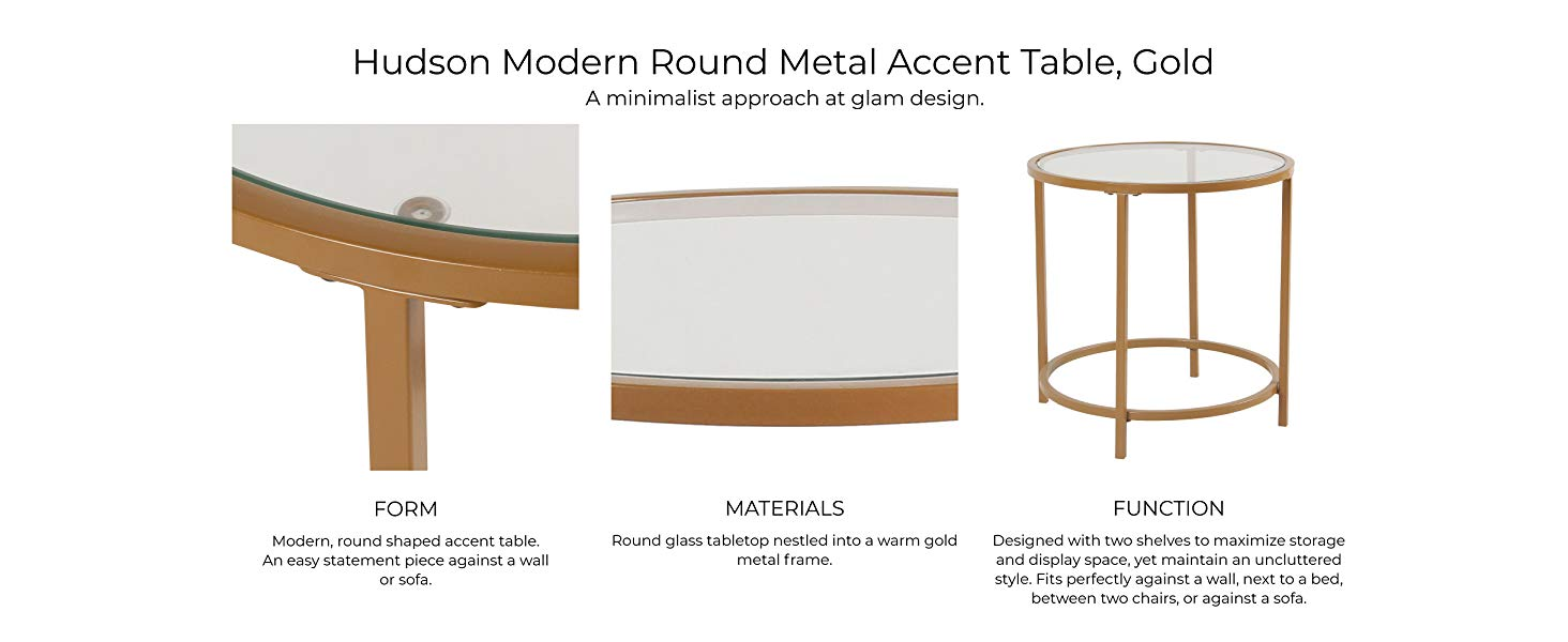 spatial order round metal accent table glass top gold hudson modern showing form materials and function large silver wall clock ultra lamps uttermost console nate berkus side