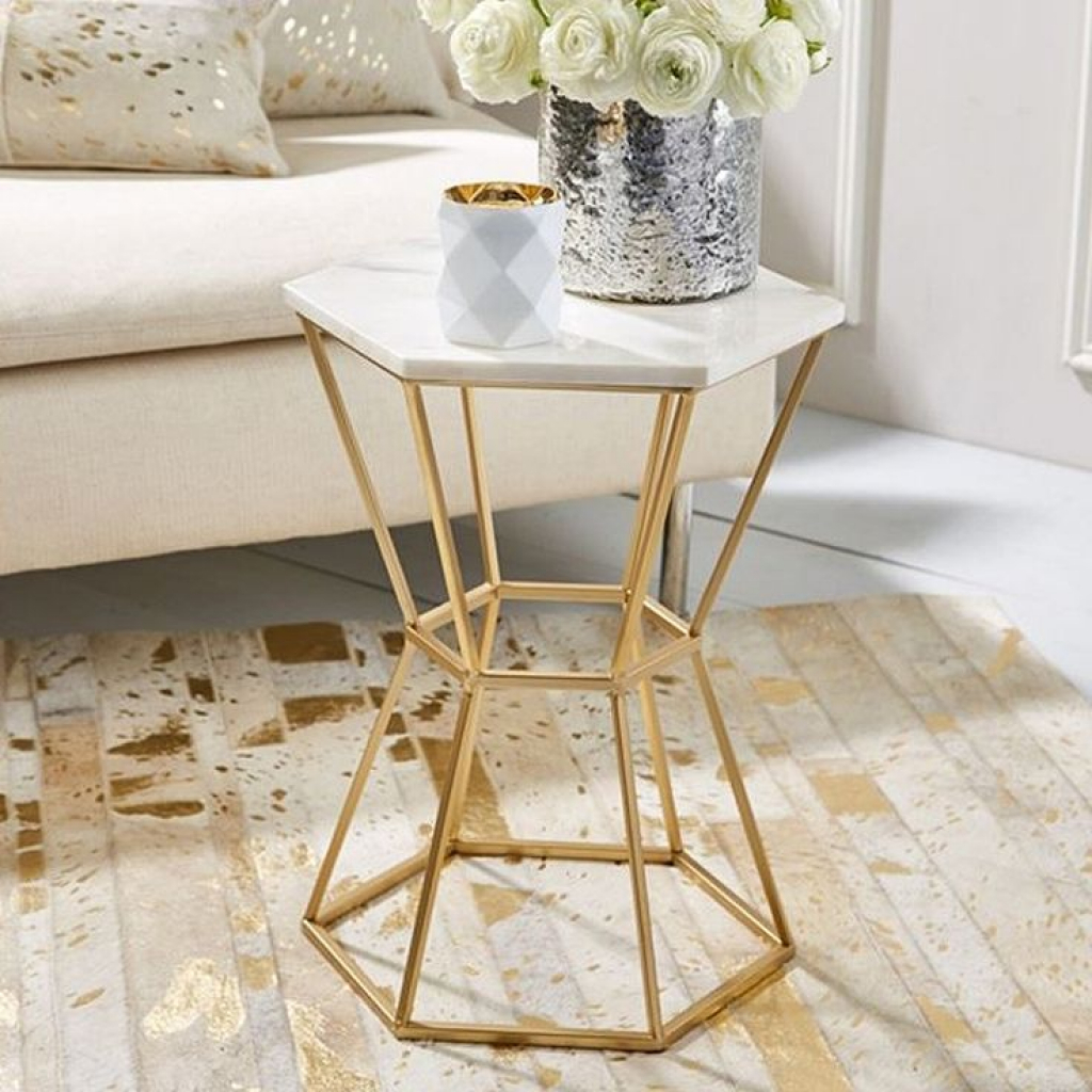 spectacular small table end hexagonal marble top accent with gold base materials dining chairs arms leg extensions thin living room tablecloth tall pub set target storage