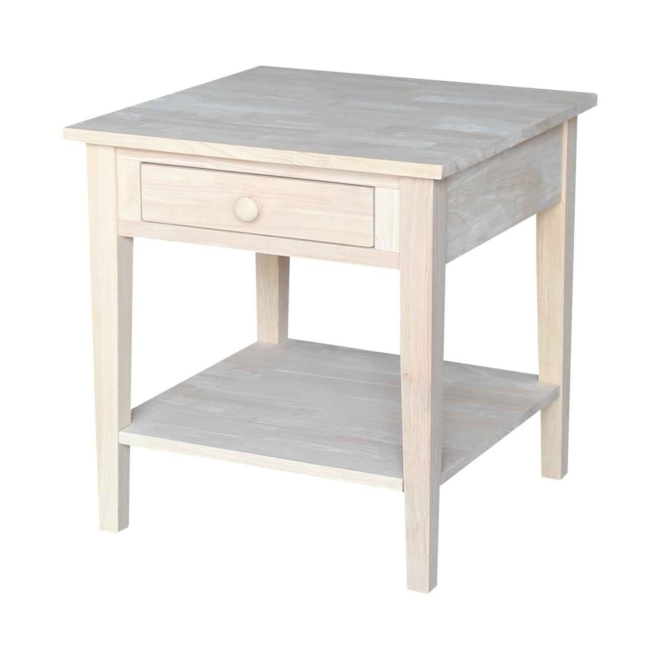 spencer square unfinished solid parawood end table free raw wood accent shipping today short narrow small round nightstand waterproof furniture covers rectangular side gray wicker