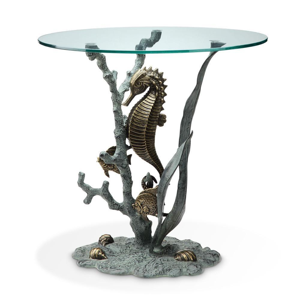 spi glass top end table with seahorse and marine life sculpture home nautical accent white round side black cherry espresso drawer slim dog bath tub dark wood tables drum solid