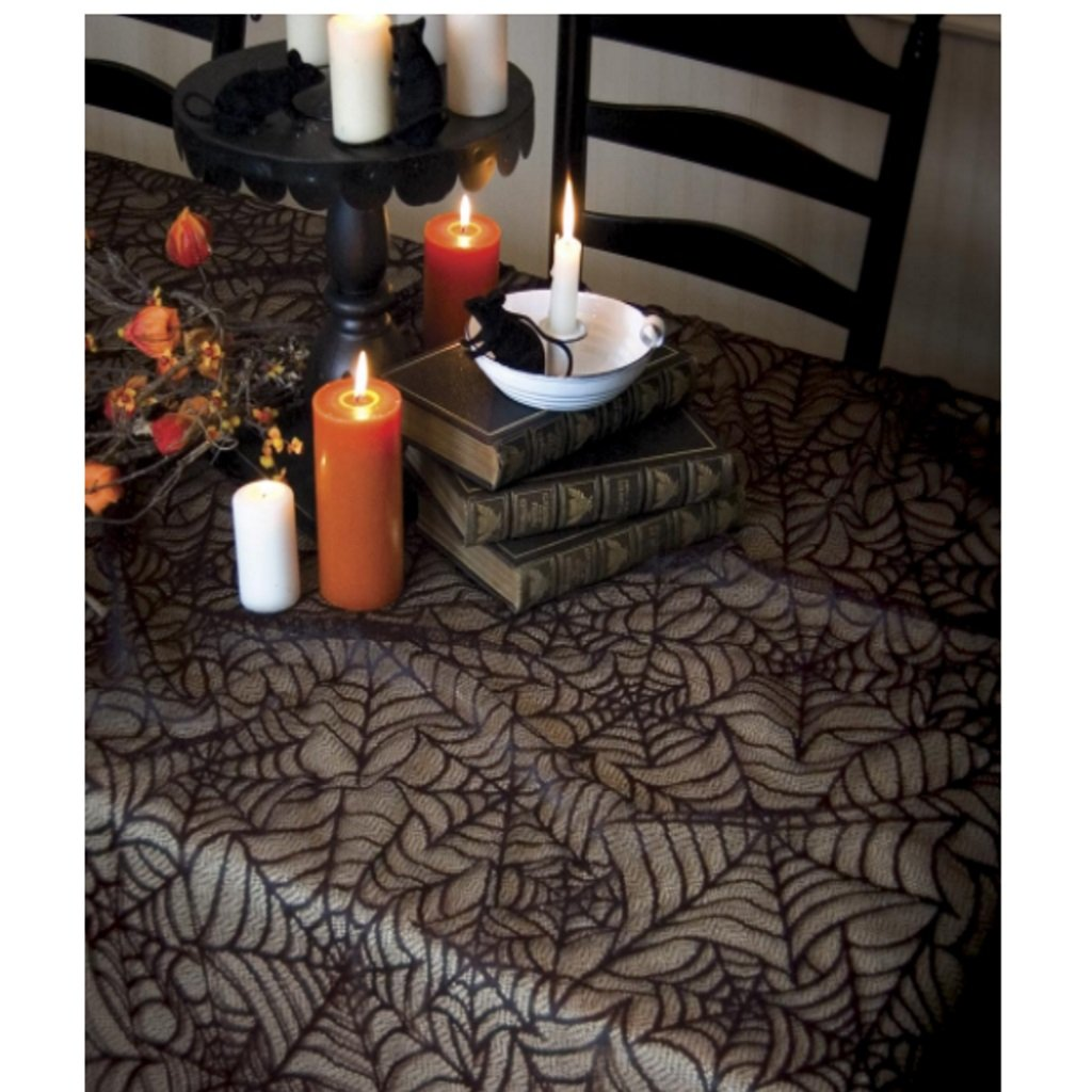 spiderweb tablecloth wonderfully creepy untitled artistic accents spider web foldable outdoor side table grill master parts marble coffee target ashley furniture set sheesham dark