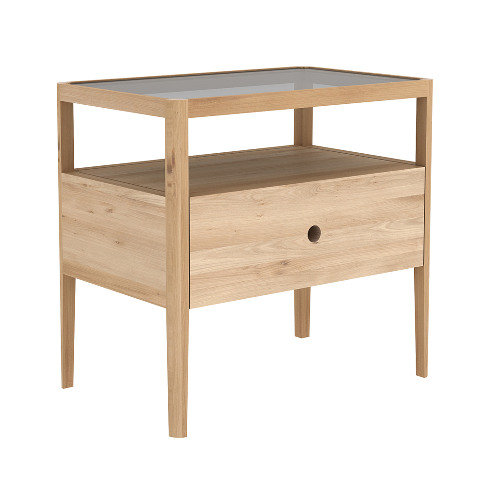 spindle bedside table oak rouse home drawer wood accent decor art beach cottage lighting kirkland furniture spring haven kartell side round mats oriental desk lamp battery powered