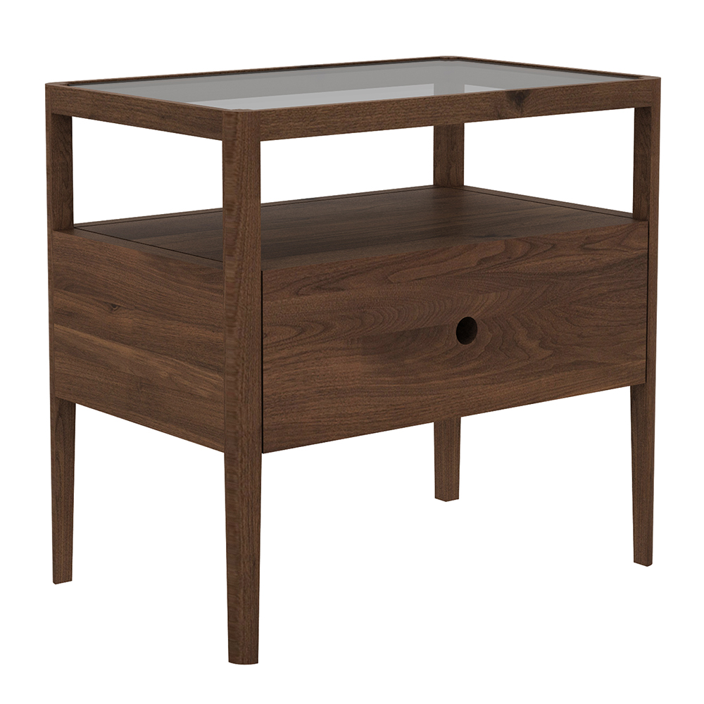 spindle bedside table walnut rouse home drawer wood accent piece nesting set decor art kirkland furniture agate side two chairs three target threshold marble top keter drinks nate