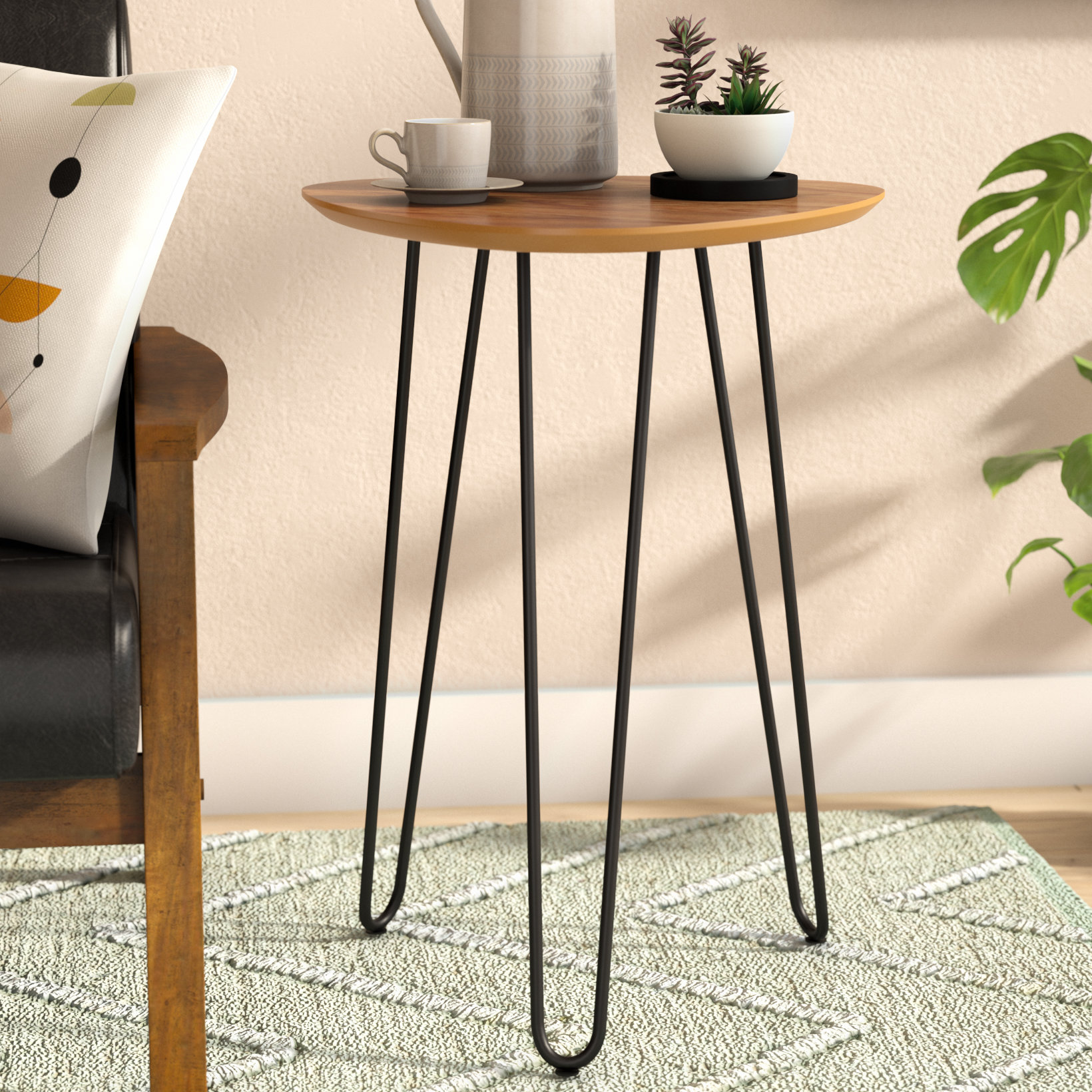 spindle leg side table goldner hairpin wood end slab accent tiffany style lamp pedestal base black half moon glass top couch narrow mirrored console pier one outdoor umbrellas