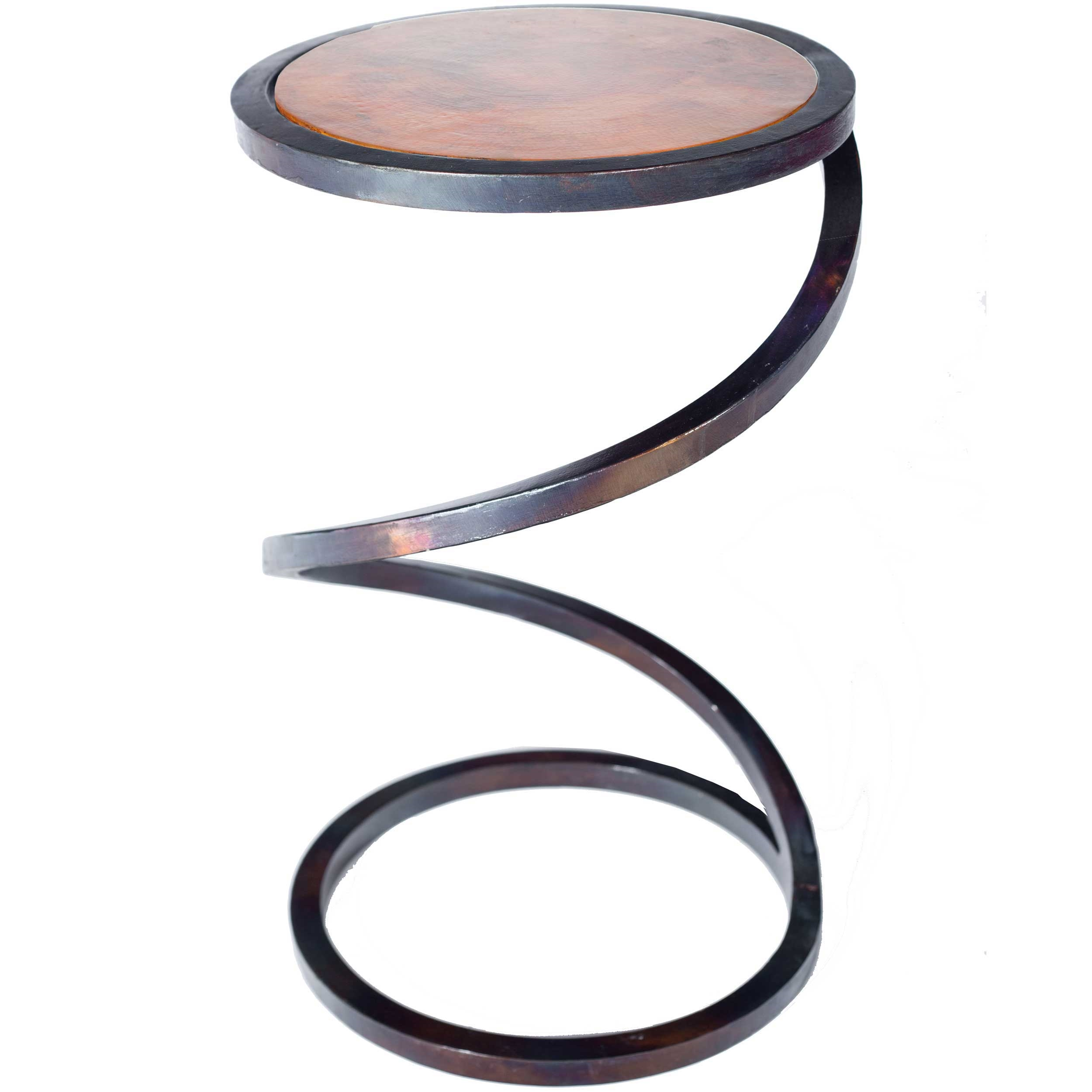 spiral round iron accent table with hammered copper top twi dark brown larger ashley chairs bar towels full size mattress feet inch legs white resin coffee modern mirrored clear