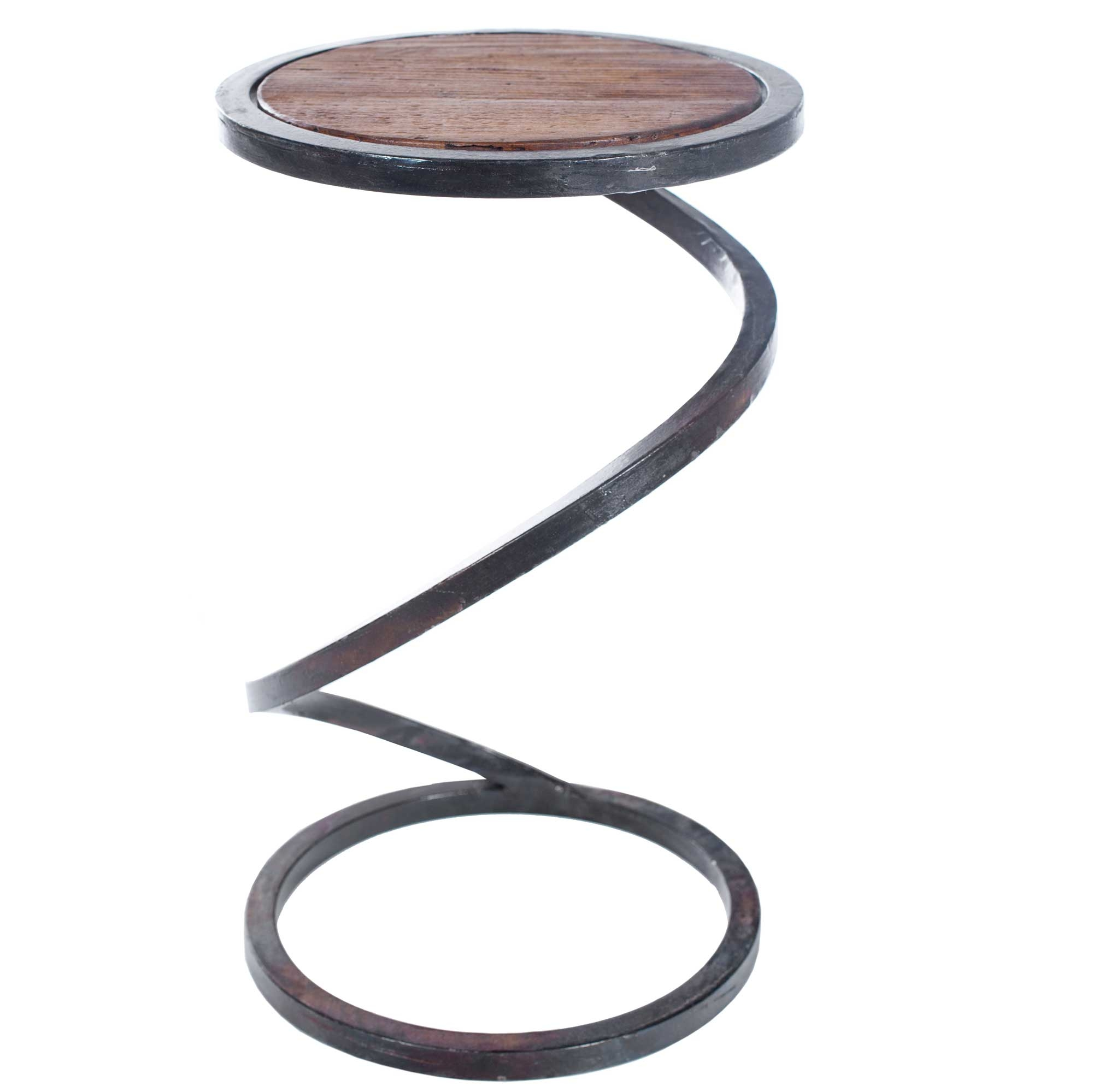 spiral round iron accent table with reclaimed wood top twi metal wrought base and larger telephone drawers comfortable outdoor chairs living room essentials cordless lamps hay