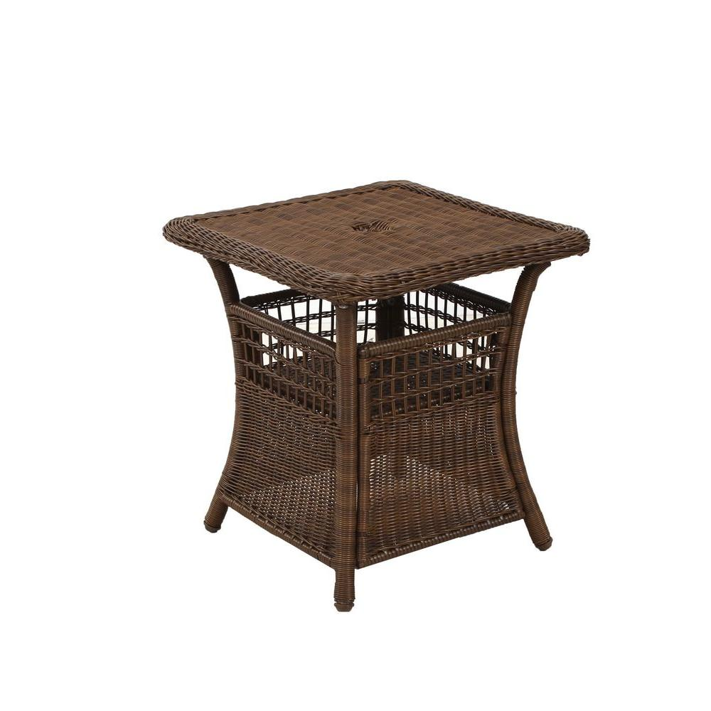 spring haven brown all weather wicker patio umbrella side table accent vip lenovo target and chairs garden supplies outdoor cocktail with hole ballard slipcovers metal nesting