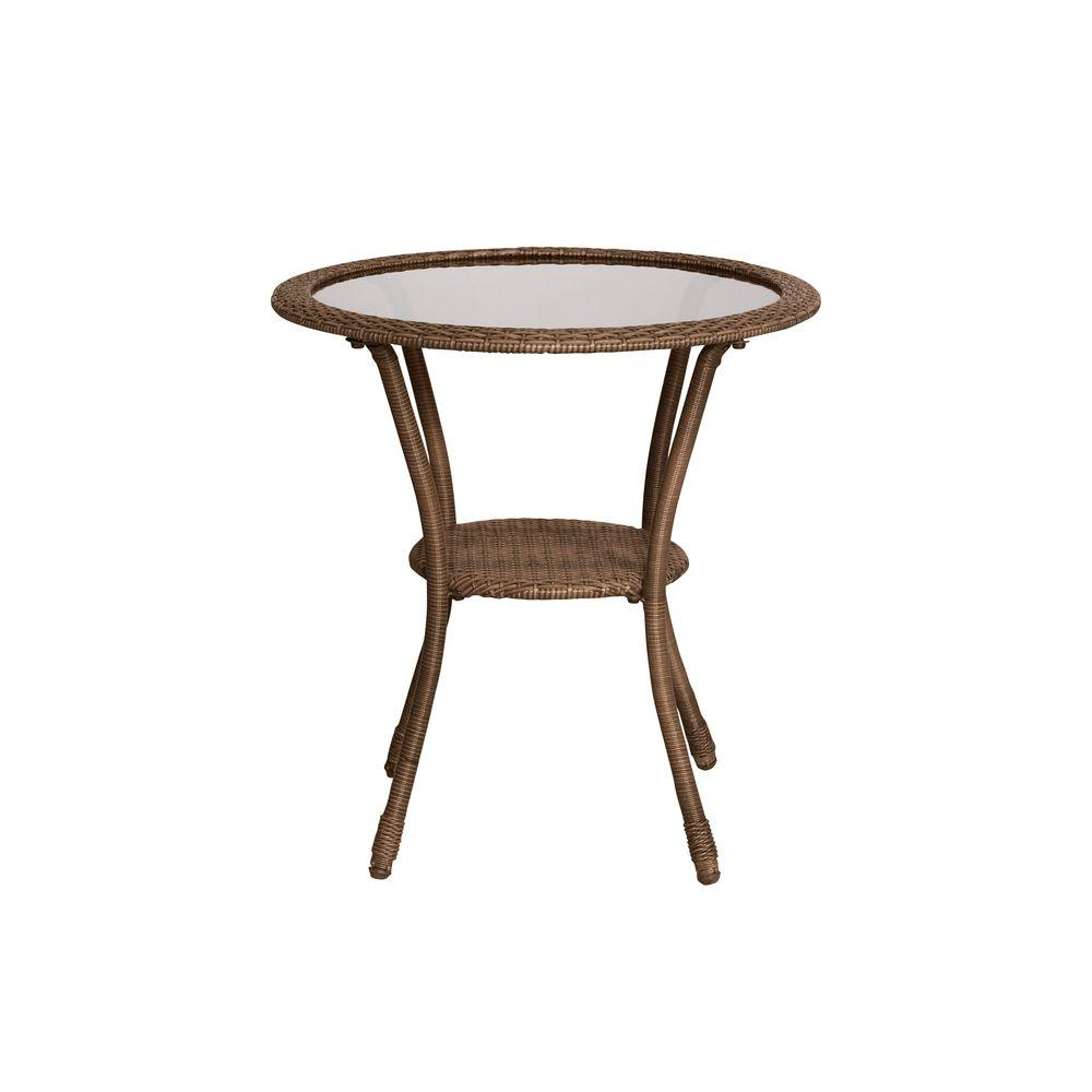spring haven brown collection outdoors the hampton bay outdoor bistro tables umbrella accent table all weather wicker patio lift coffee mid century dining iron chairs furniture