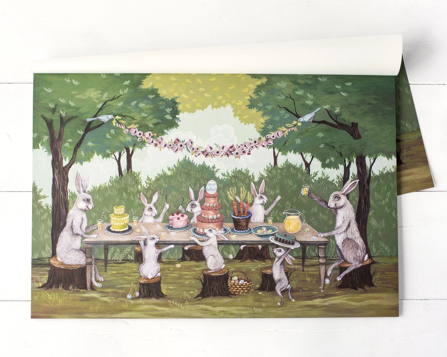 spring social placemat products table accent scene hand painted the artist elizabeth foster collaboration with hester cook this paper placemats are perfect metal floor reducer