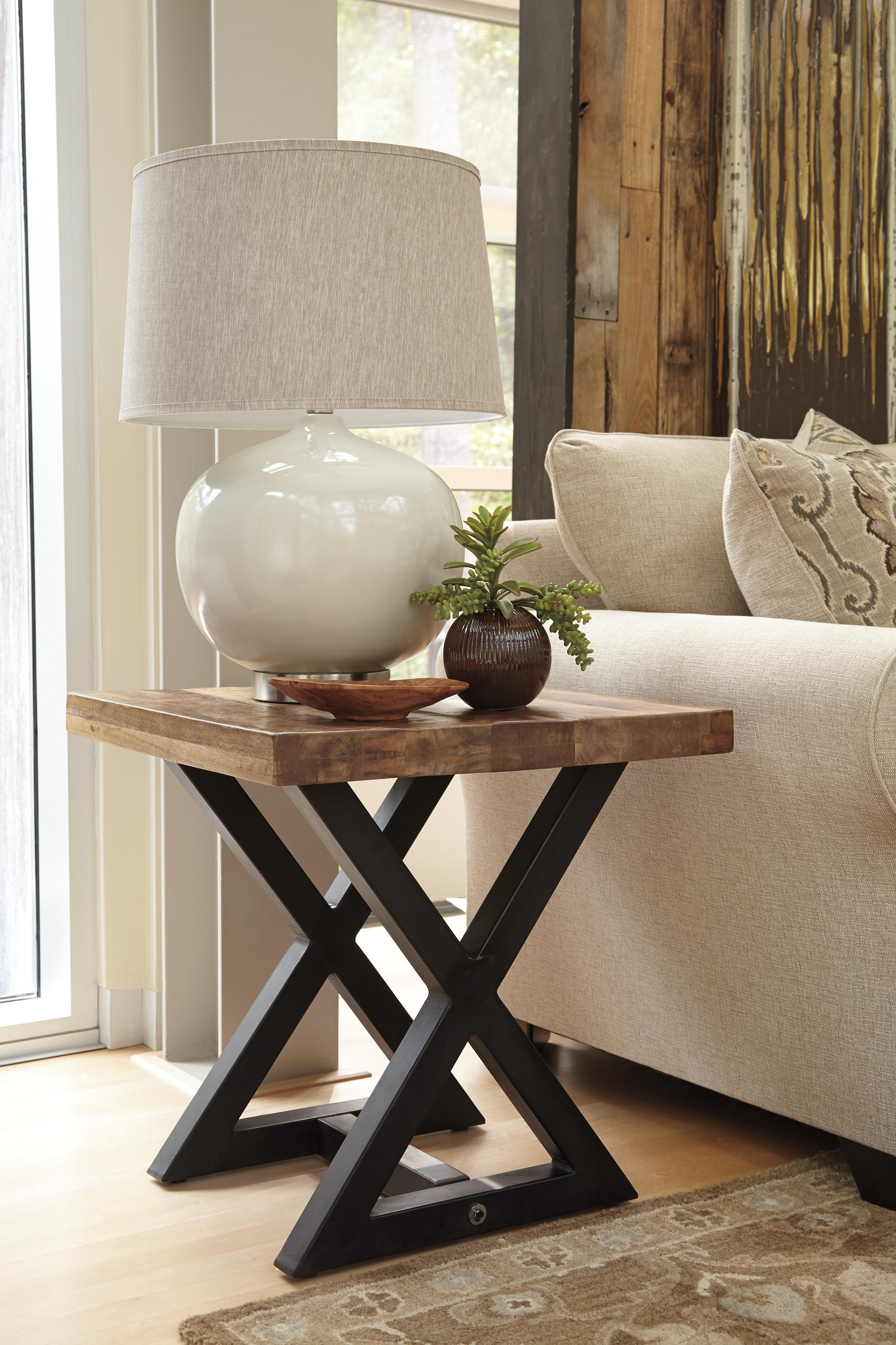 square end table with mango wood top metal braced base products signature design ashley color weslin accent white counter height set bath wedding registry patio dining marble box