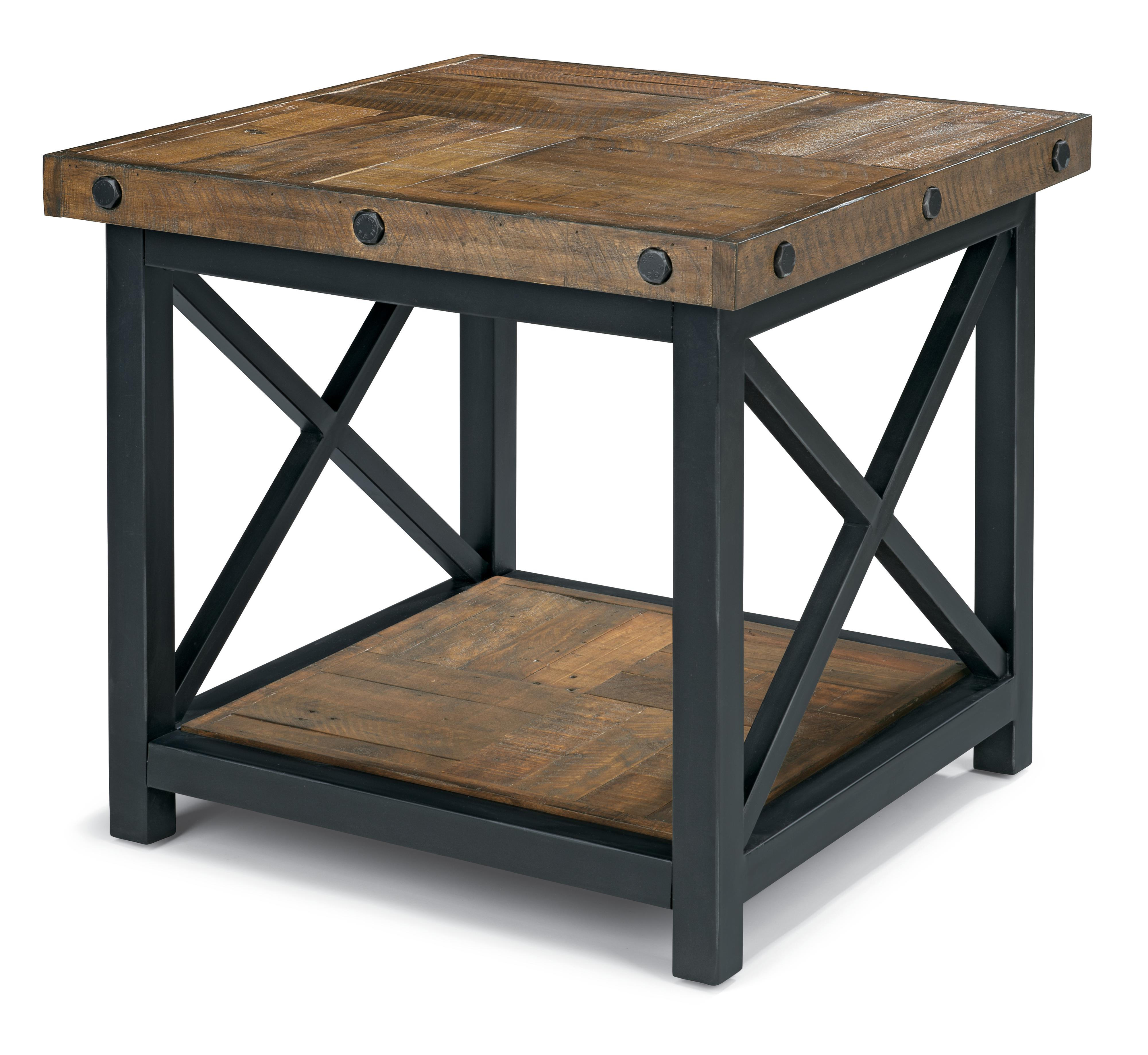 square end table with wood plank top flexsteel wolf gray accent gallerie coupon painted coffee ideas black and grey marble leick corner computer desk oval glass set seaside decor