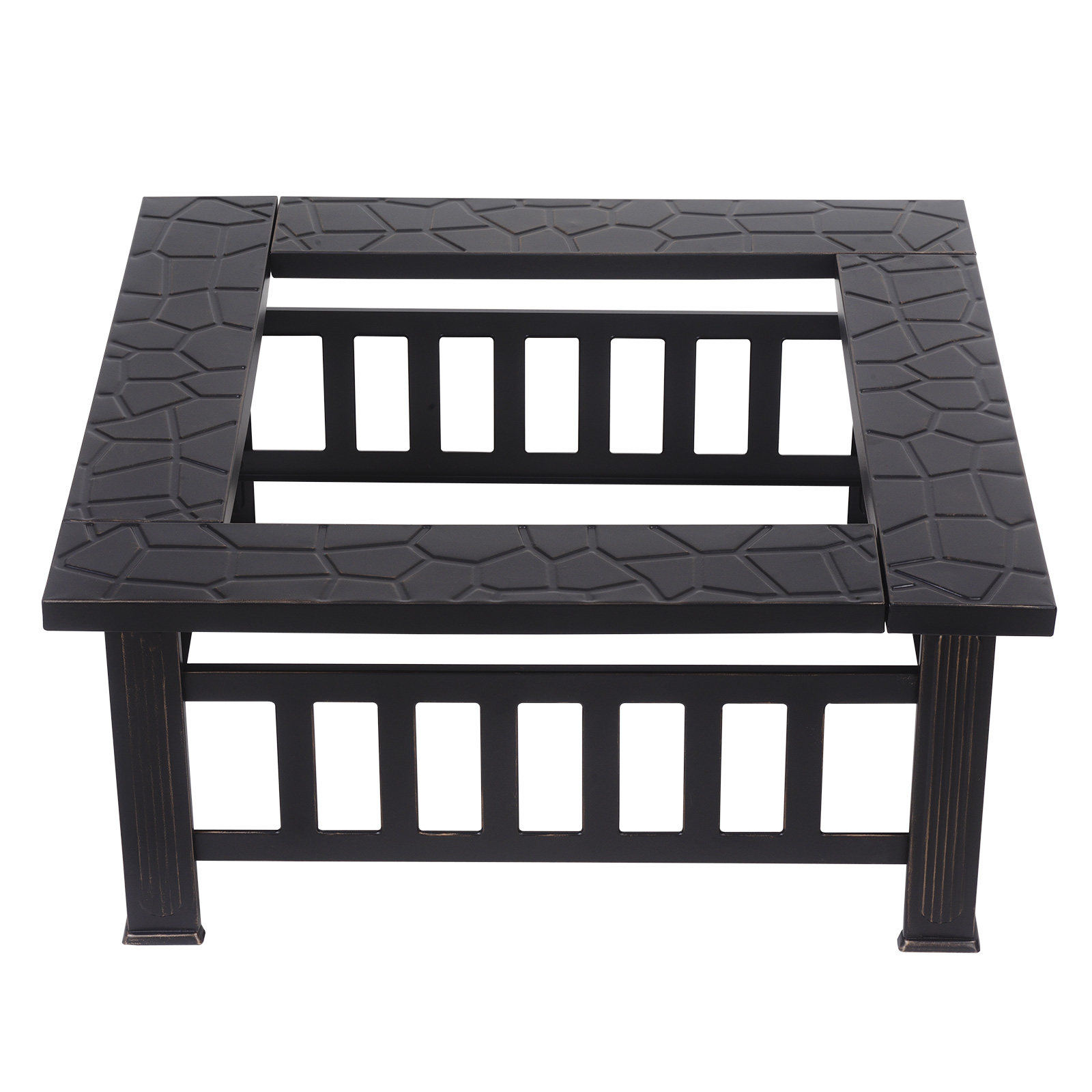 square fire pit metal table outdoor fireplace patio heater bbq grill side stove multi drawer chest rustic coffee set rectangular marble dining furniture collections garden storage