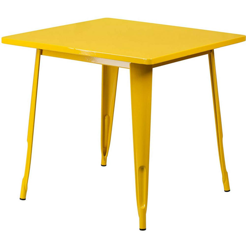 square industrial table yellow metal small multipurpose garden accent indoor outdoor all weather colorful kitchen living room patio ebook decorative plant stands ikea childrens
