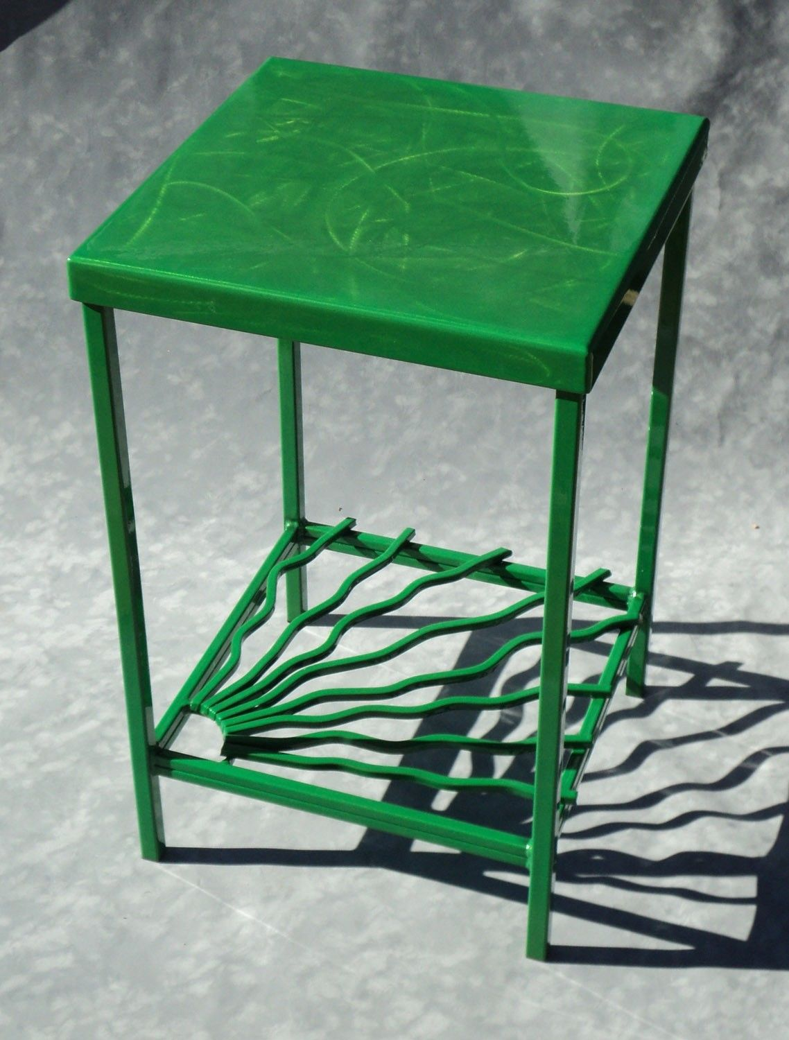 square vibrant lively lime green steel side end table office decor accent lucite nesting tables black drum seat height small cream console floor tom legs nautical pendant lighting