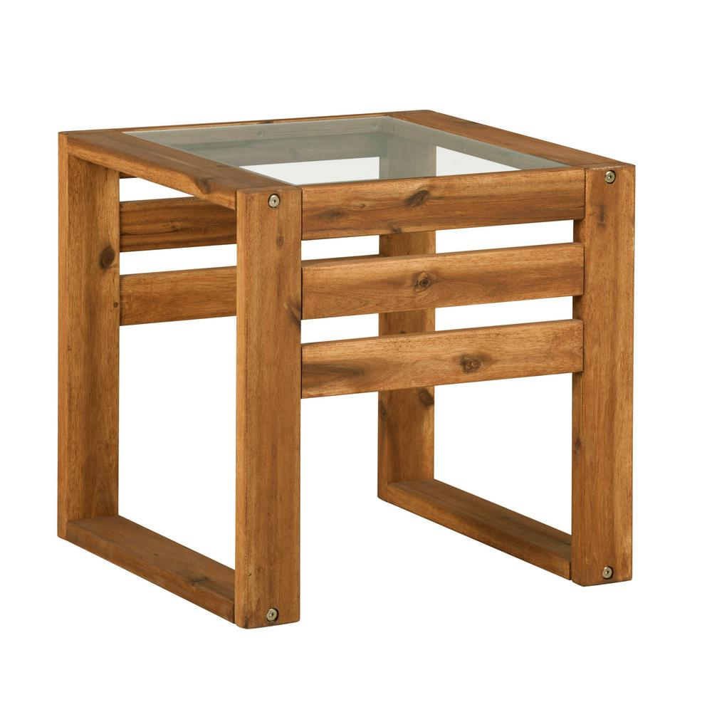 square wood and glass outdoor open side end table brown hdwosstbr tables orange kitchen sofa lounge chairs bunnings small living room grey marble dining lamp design plastic