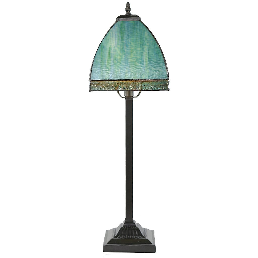 stained glass bent panel table lamp green aqua flesner brushed steel accent with usb port home improvement trend furniture dog grooming edmonton best decor ping websites large