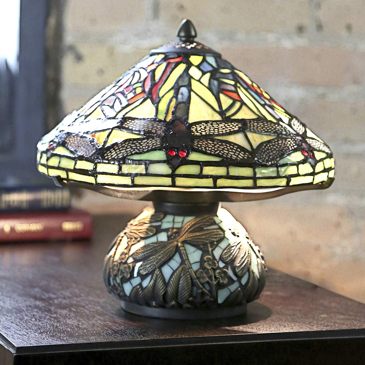 stained glass mini dragonfly table lamp mosaic base miniature accent lamps mainstays side rattan coffee with storage dining clearance pottery barn black round white fabric cubes