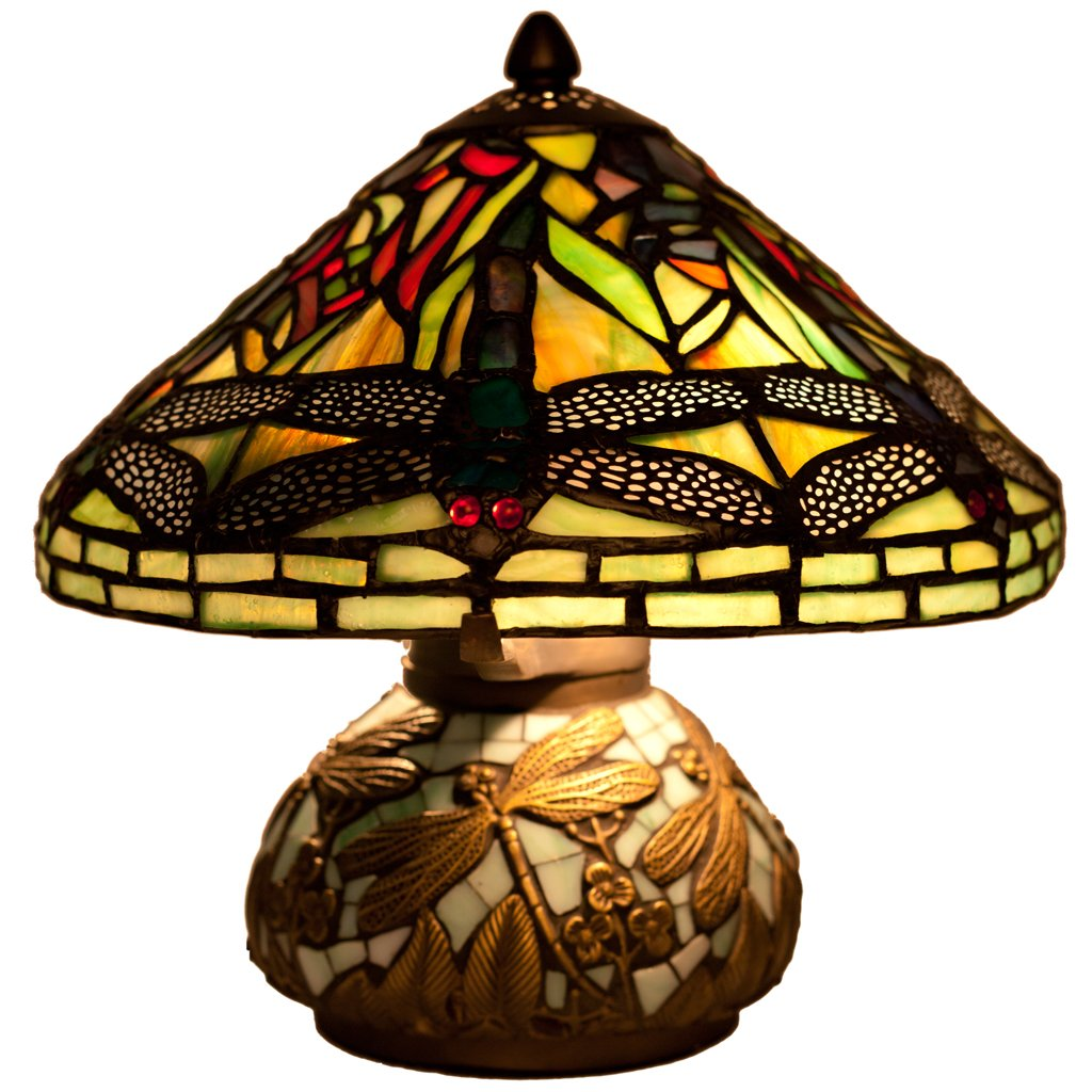 stained glass mini dragonfly table lamp mosaic base miniature accent lamps storage cabinet dining chairs pottery barn white round shaped executive desk eos vita outdoor grill