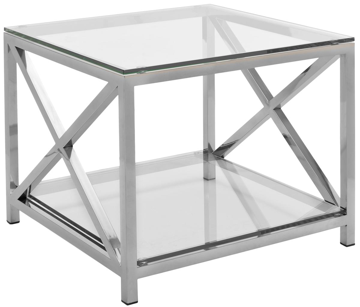 stainless steel chrome glass accent table safavieh white end hayward top couture power cord types cream lamp tables for living room metal base legs bar stools black and silver