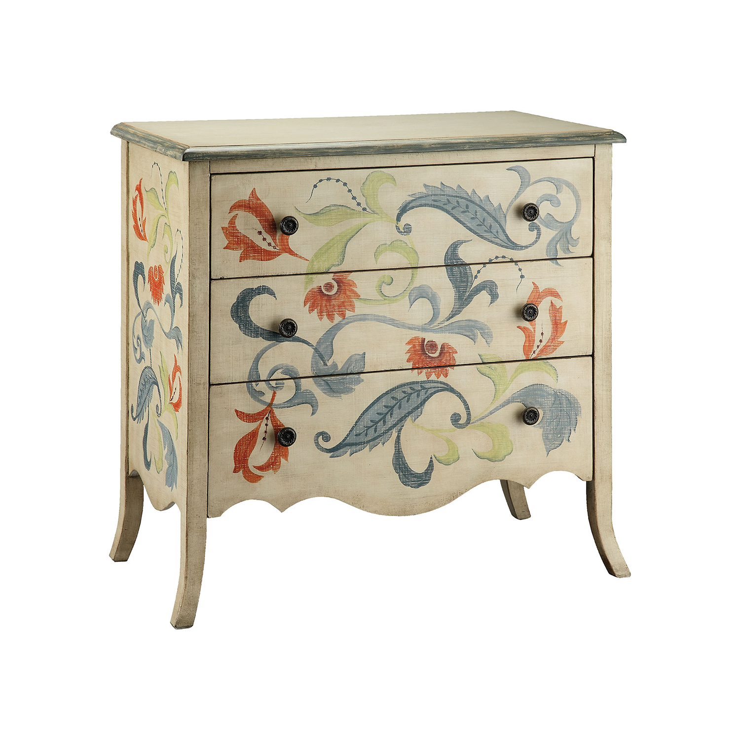 stein world hand painted cream and blue gray chest accent tables chests hover zoom piece dining set bathroom stand wood living room furniture small wrought iron table pedestal
