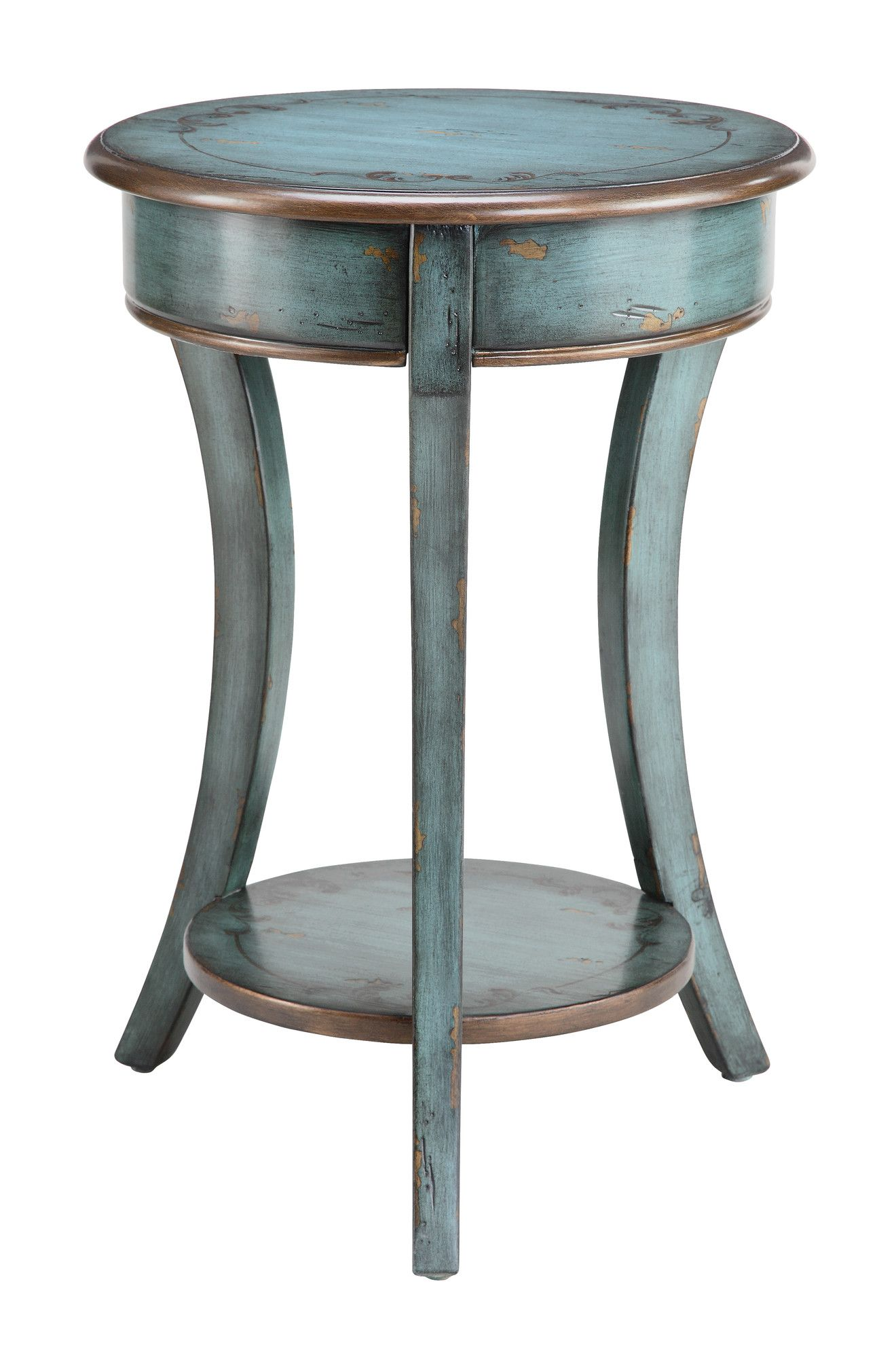 stein world painted treasures end table bronzed and distressed paint rustic wood accent job round tablecloth half moon tables furniture party cloth catalogue bar cabinet red metal