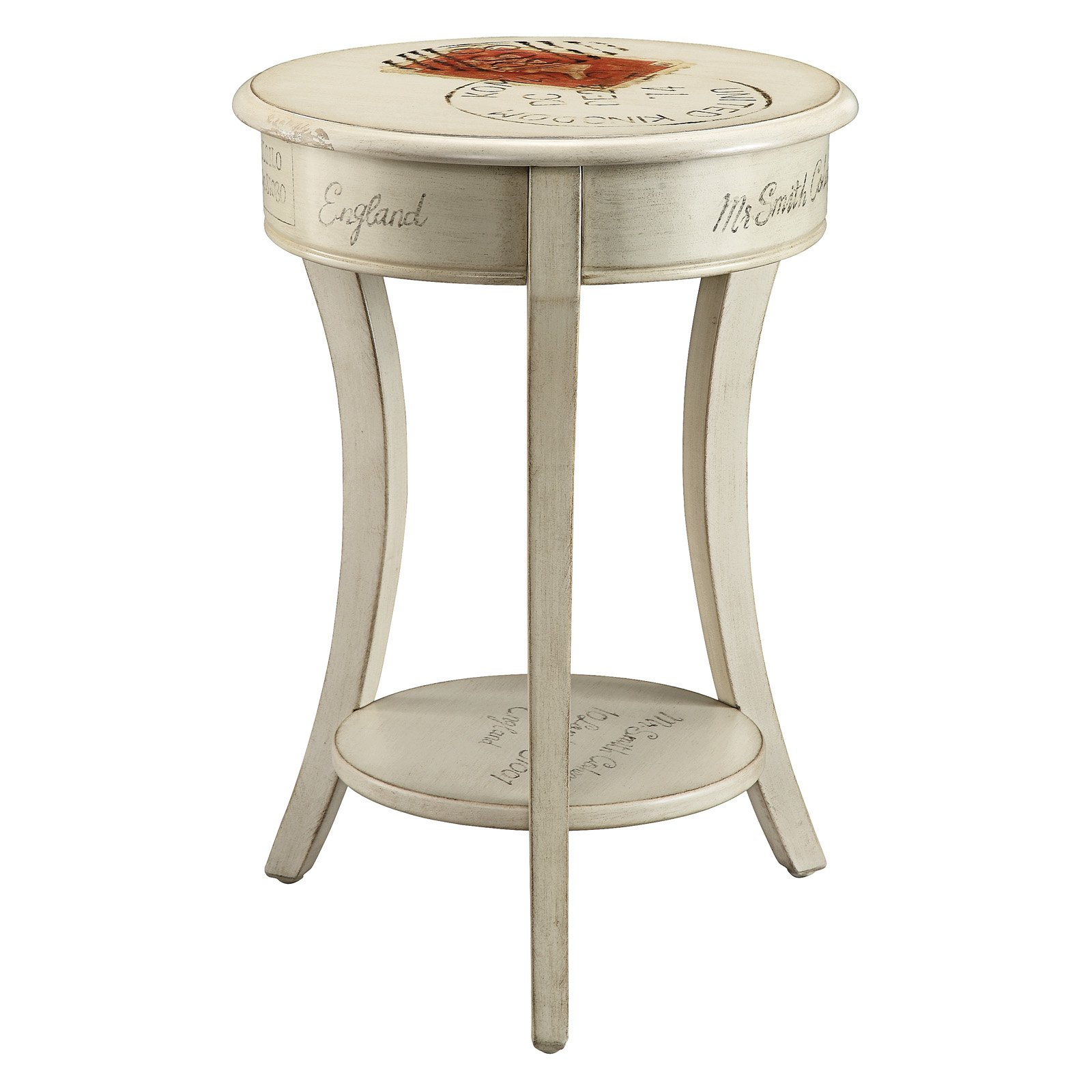 stein world postage painted round accent table marble gray tables slim mirrored bedside black linen tablecloth small nightstand lamps antique wheels for coffee with chairs living