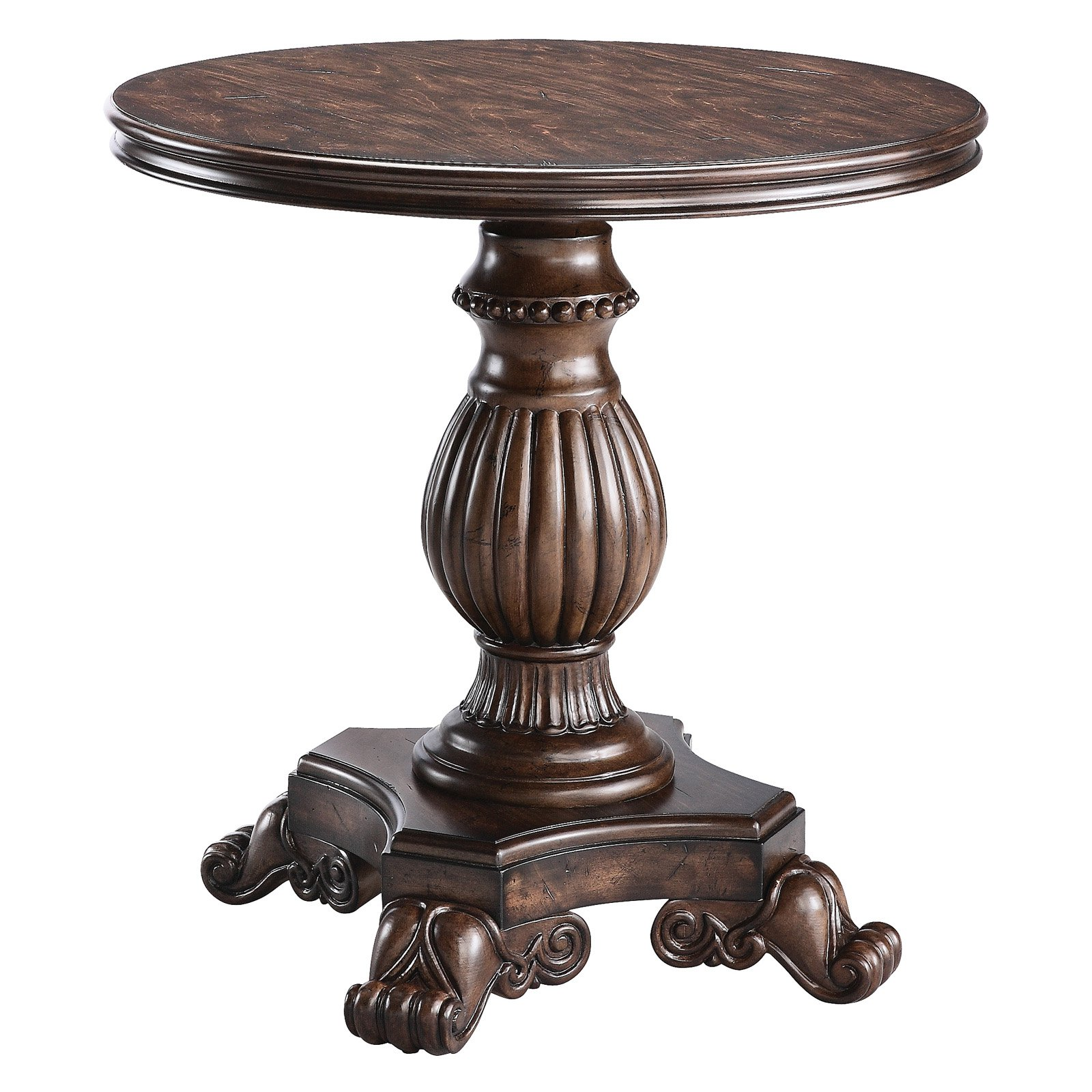 stein world round pedestal reclaimed table dark end half moon accent small west elm knock off mirror cube outdoor mosaic throne for drums butcher block island patio swing cover