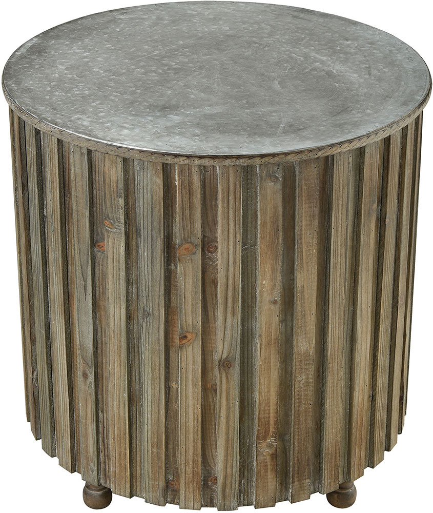 sterling boone salvaged grey oak galvanized steel accent table metal loading zoom pedestal coffee end tables with storage dining room placemats tablecloth boston furniture kitchen