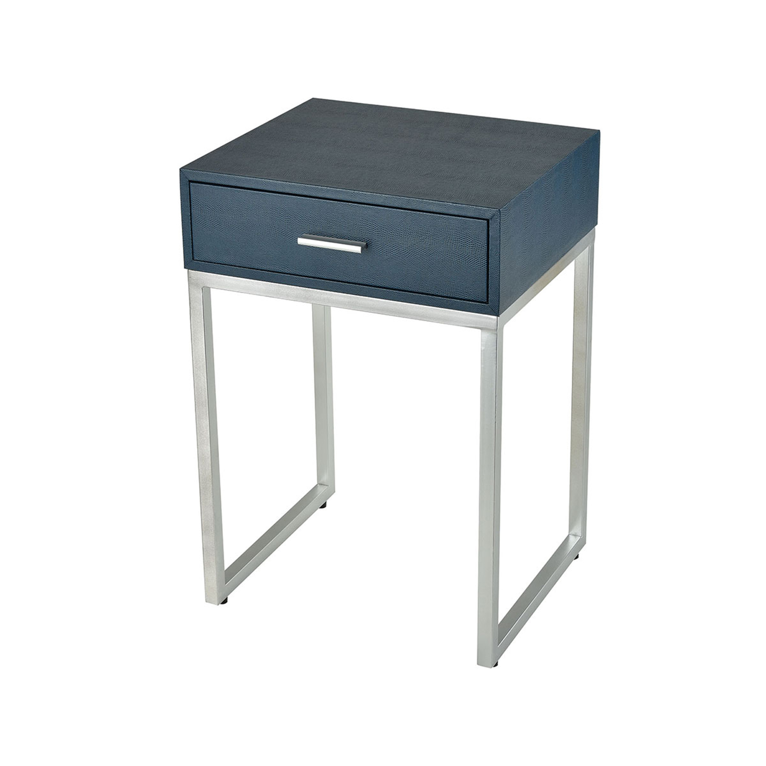 sterling industries les revoires navy faux shagreen with silver accent table hover zoom small round pedestal end rectangle trestle dining garden storage bench room centerpieces