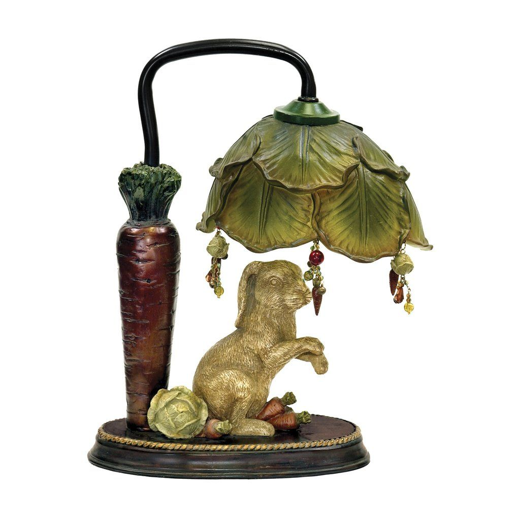 sterling industries rabbit under leaf mini accent table lamp lamps there goes that cunning foraging the vegetable garden again gold glass side dining and chair set round outdoor