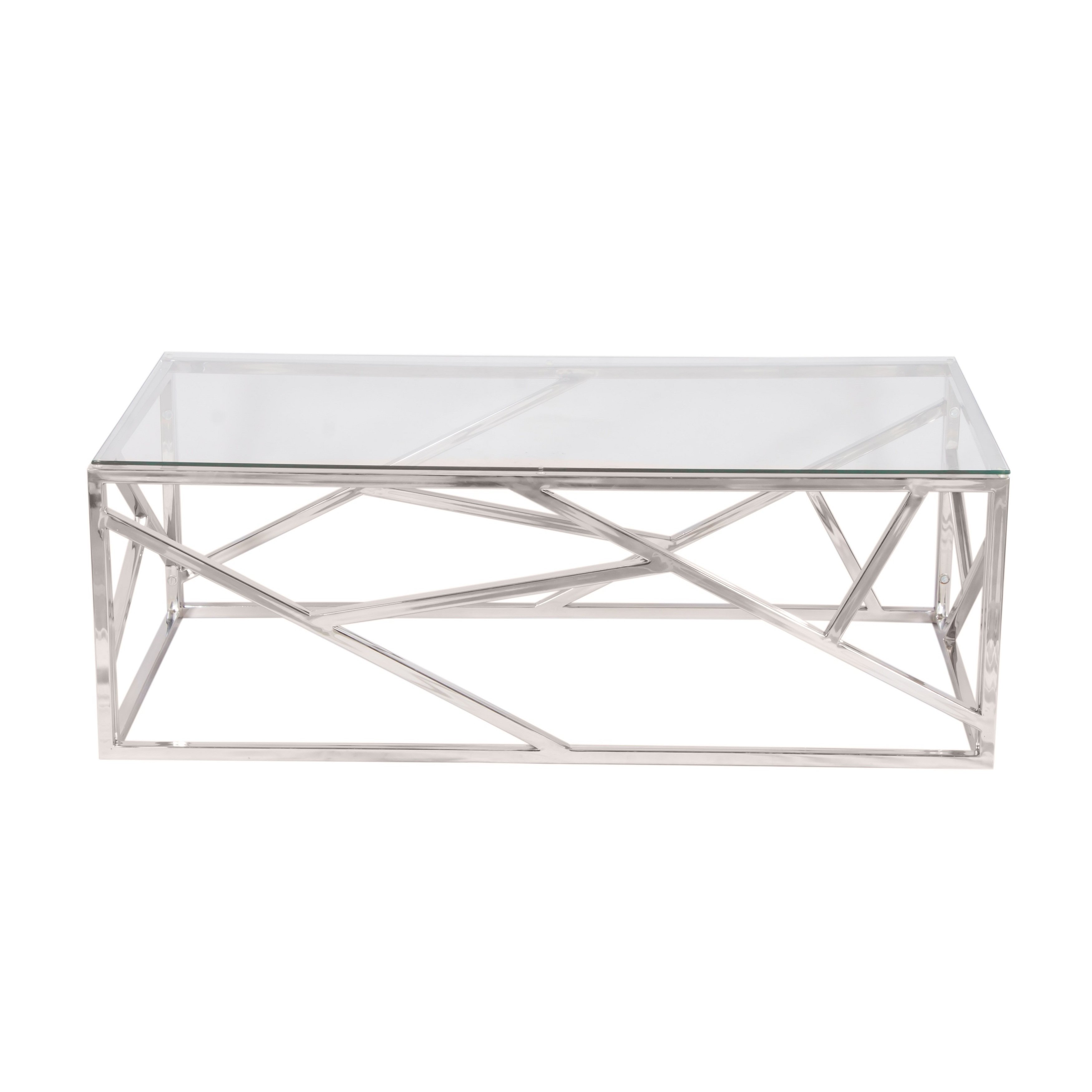 sterling silvertone stainless steel coffee table with clear glass lorelei accent top free shipping today marble toronto black gold dining base dinette set console kmart kitchen